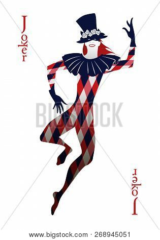 Playing Card Joker, With Top Hat Decorated With Flowers, Mask And Rhombus Suit, Dancing Isolated On