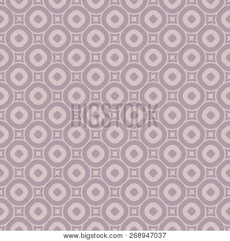 Vector Geometric Seamless Pattern In Trendy Pastel Colors, Soft Pink And Pallid Purple. Abstract Tex