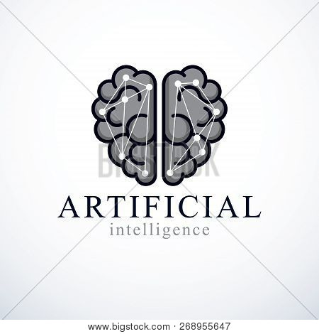 Artificial Intelligence Concept Vector Logo Design. Human Anatomical Brain With Electronics Technolo