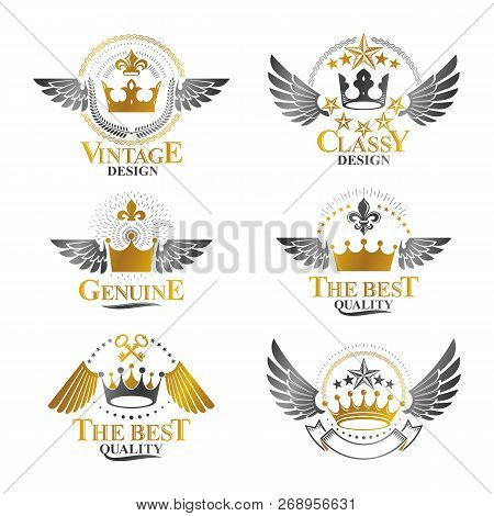 Majestic Crowns Emblems Set. Heraldic Coat Of Arms Decorative Logo Isolated Vector Illustrations Col