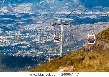 Teleferiqo Cable Car To The Lookout Cruz Loma In Quito, Ecuador