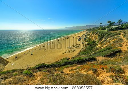 Aerial View Of Scenic Point Dume State Beach From Point Dume Promontory On Malibu Coast, Pacific Oce