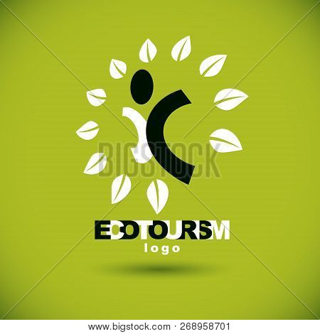 Vector Illustration Of Happy Abstract Human With Reaching Up. Ecotourism Conceptual Logo. Environmen