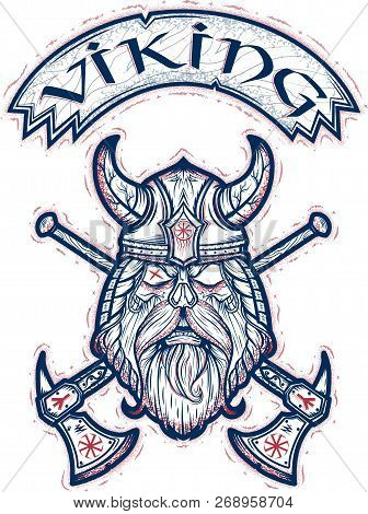 Emblem Of The Fearless Viking With Axes And Beard