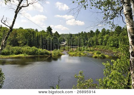 view of Upper Tahquamenon Falls in Michigan