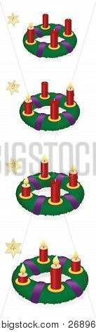 Advent Wreath With One, Two, Three, Four Burning Red Candles In Chronological Order On First, Second