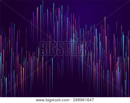 Glowing Lines Falling Abstract Big Data Concept Tech Vector Background. Digital Geometric Blue Lines