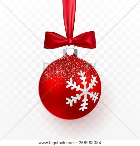 Red Christmas Ball With Red Bow. Xmas Glass Ball On Transparent Background. Holiday Decoration Templ