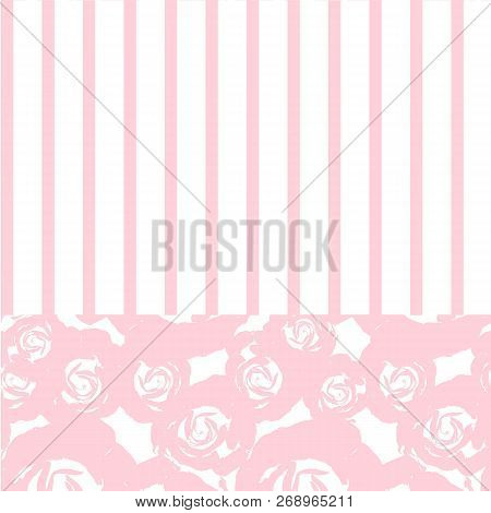 Beautiful Vintage Floral Pattern, Hand Drawn Pink Rose, Strips Stock Vector Design Element Stock Vec
