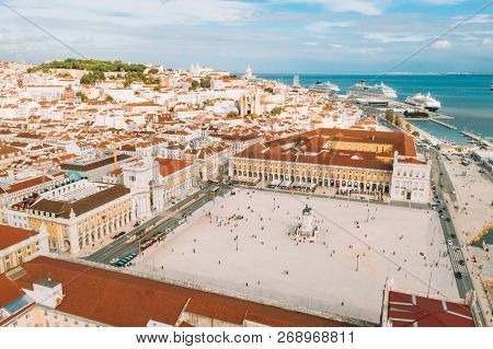 Lisbon, Portugal - 08/20/2018 - Aerial View Of The Famous Praca Do Comercio (commerce Square) - One