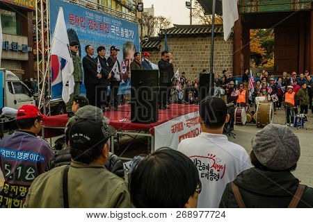 Seoul, South Korea; November 10, 2018: Unidentified Group Of Koreans Gather To Hear Speaker At Rally