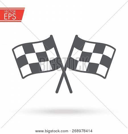 Checkered Racing Flag Icon. Starting Flag Auto And Moto Racing. Sport Car Competition Victory Sign.