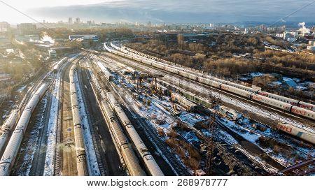 Khabarovsk, November. 15, 2018: View Of The Cars Of Railway Passenger Cars At The Railway Depot . Pa