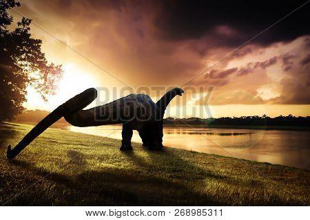 Dinosaur , Apatosaurus In The Forest ,dinosaur , Apatosaurus