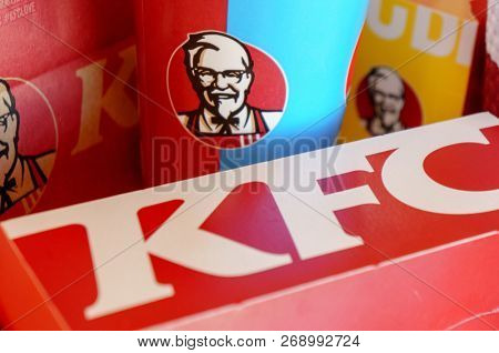 Moscow, Russia, October 11, 2018 : KFC Chickens, french fried and drink in KFC restaurant