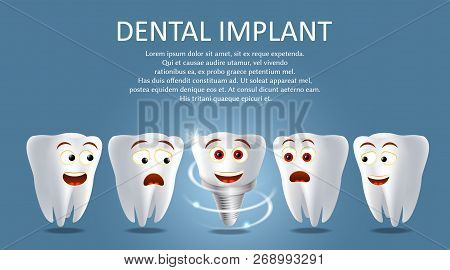 Dental Implant Vector Poster Or Banner Template