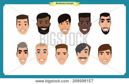 Group Of People, Business Bearded Men Avatar Icons.flat Design People Characters.business Avatars Se
