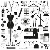 Sewing and dressmaking equipment and handcraft supplies elements set. Tailor needlework accessories with mannequin, spool of thread, needle, scissors, fabric, pincushion with pins, sewing machine. poster