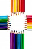 Color pencils isolated on white background poster