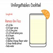 Ramos Gin Fizz alcoholic cocktail vector illustration recipe isolated poster