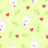 seamless pattern of cute white bunnies on citric background with floral elements, Easter wallpaper design with hares poster