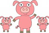 Mommy pig with cute baby piglets waving poster