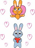 Two fun cute vector cartoon bunny rabbits with heart motifs poster