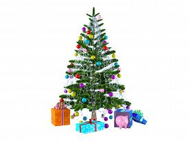 Decorated With Multicolored Balls And Toys Pigs Christmas Tree With Gifts And Piggy Bank.isolated 3d