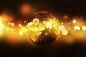 Illustration Of Earth Globe Over Golden Bokeh Background. Abstract Conceptual Image. Elements Of Thi