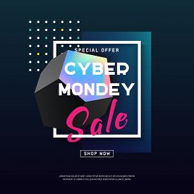 Cyber Monday Media Concept Banner In Modern Neon Style. Abstract Fluid Holography Shape For Web E-ma