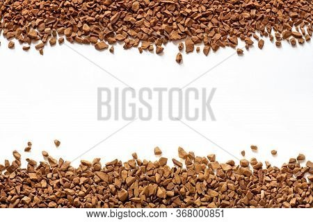 Golden Color Freeze Dried Coffee, Instant Coffee Granules On A White Background Close-up, Sublimated
