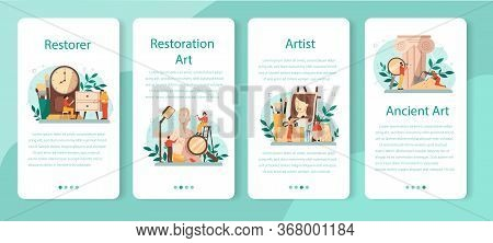 Restorer Mobile Application Banner Set. Artist Restores An Ancient