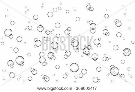 Underwater Fizzing Air, Water Or Oxygen  Bubbles On White  Background. Effervescent Drink. Fizzy Spa
