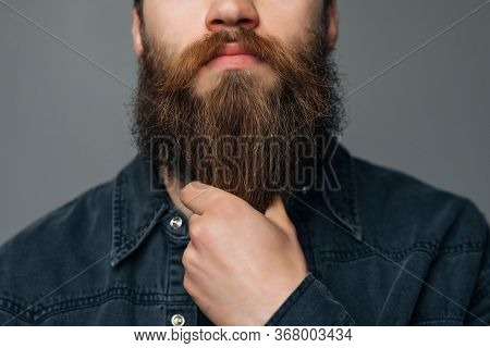 Touching His Perfect Beard. Close-up Of Young Bearded Man Touching His Beard While Standing Against