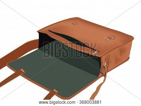 Leather Bag With Shoulder Strap With Various Compartments Interni