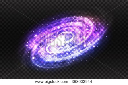 Spiral Galaxy And Milky Way On Transparent Backdrop. Purple And Blue Stardust. Realistic Color Galax