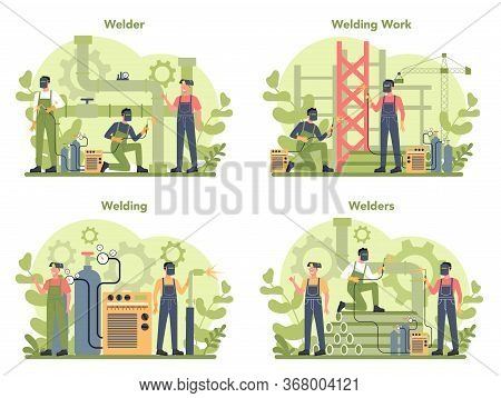 Welder And Welding Service Concept Set. Professional Welder