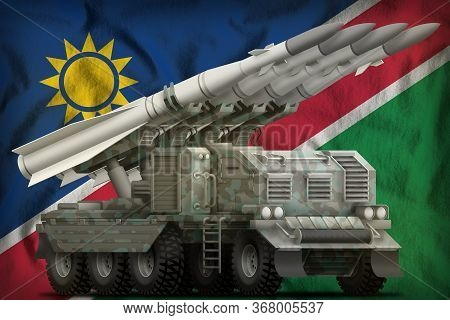 Tactical Short Range Ballistic Missile With Arctic Camouflage On The Namibia Flag Background. 3d Ill