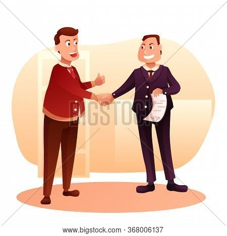 Job Interview Flat Vector Illustration. Employer And Candidate Cartoon Characters. Deal, Agreement.