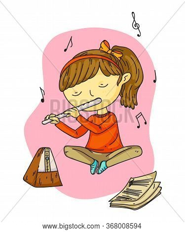 Cute Adorable Little Girl Sitting On Floor And Playing Melody On Pipe Cartoon. Notes Fly Out From Fl