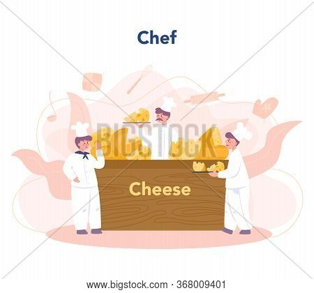 Cheese Maker Concept. Professional Chef Making Block Of Cheese.