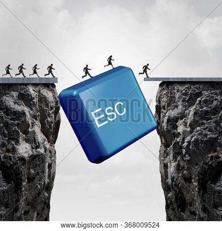 Business Escape Concept And Corporate Success Idea Or Overcoming An Obstacle As An Esc Computer Butt