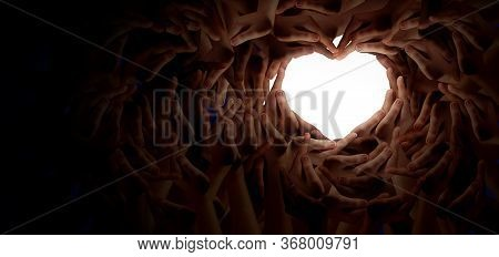 Diversity Together And Unity Partnership As Heart Hands In A Group Of Diverse People Connected Shape