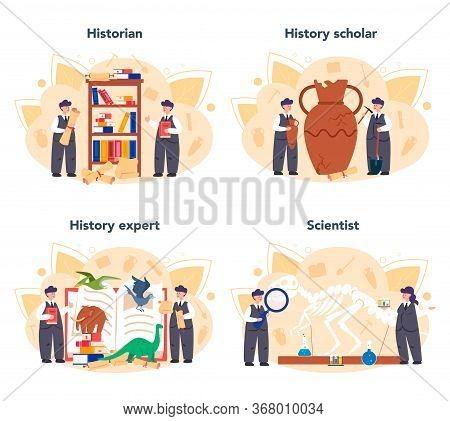 Historian Concept. History Science, Paleontology, Archeology. Knowledge