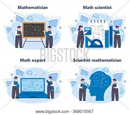 Mathematician Set. Mathematician Use Scientific Pattern Formulate Calculation.