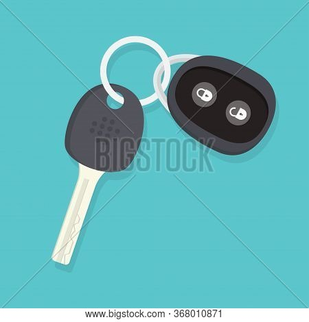 Car Key And Of The Alarm System. Vector Illustration Isolated On Blue Background.