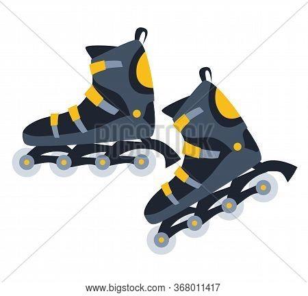 Roller Skates Flat Vector Illustration. Cartoon Inline Skating Equipment Isolated On White Backgroun