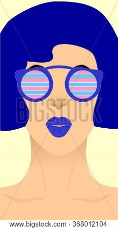 The Face Of A Girl With Blue Short Hair And Blue Lips In Round Sunglasses With A Blue Rim, The Glass