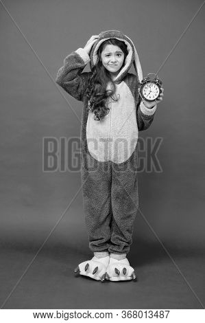 Morning Alarm. Bunny Kid Red Background. Baby Animal. Counting Time. Regular Day Beginning. Adorable