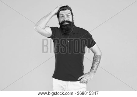 Sorry. Forgot About Your Order. Hiring Shop Worker. Hipster Cashier. Delivery Service. Man Bearded T